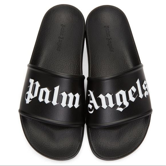 Palm Angels Black Logo Pool Slides rUtBy0
